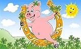 Fanshop Lünen Fahne - Flagge - Glücksschwein - Ferkel - Hufeisen - Glück - Schwein - Sonne - 90x150 cm - Hissfahne mit Ösen -