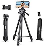 60' Phone Tripod Stand, Torjim Adjustable Travel Video Tripod with Cell Phone Holder & Wireless Remote for Video Recording, Live Streaming, Lightweight Camera Mount Tripod Stand