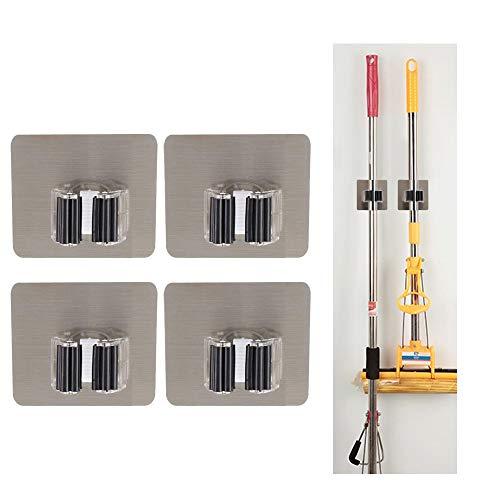Besenhalter Selbstklebend, 4 Stück Besen Wandhalterung Werkzeughalter Besenhalter Gerätehalter Wandhalterung für Küche Badezimmer - Wiederverwendbar, Neues Design