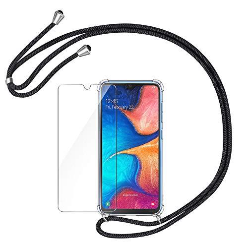 AROYI Handykette Handyhülle und Panzerglas Schutzfolie kompatibel mit Samsung Galaxy A20E Hülle mit Kordel zum Umhängen Necklace Hülle mit Band Transparent Case Schwarz Silber