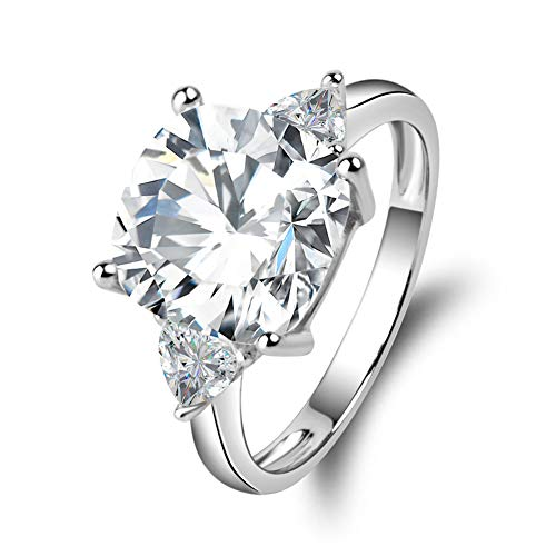 Erllo 5 Carats Cushion Cut 925 Sterling Silver Cubic Zirconia CZ 3 Stone Engagement Wedding Ring (5)