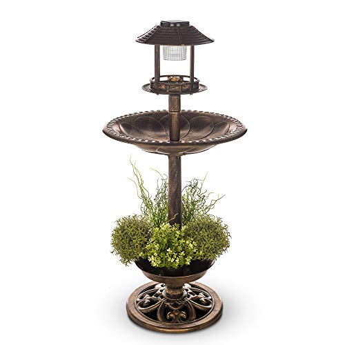 Petlicity Bird Bath and Feeder Station in Ornamental Brass Effect with Planter and Solar Powered Light for Outdoor Garden