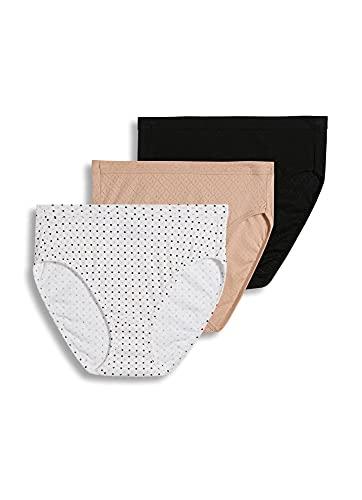 Jockey Women's Underwear Elance Breathe French Cut - 3 Pack, Light/Simple Dot/Black, 7