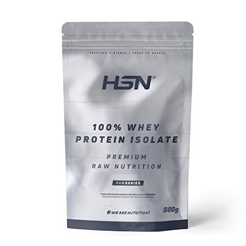 Proteína Aislada de Suero HSN | 100% Whey Protein Isolate | Proteína Sin Sabor en Polvo | Suplemento para Ganar Masa Muscular | Rica en BCAAs y Glutamina | Apto Vegetariano, 500g