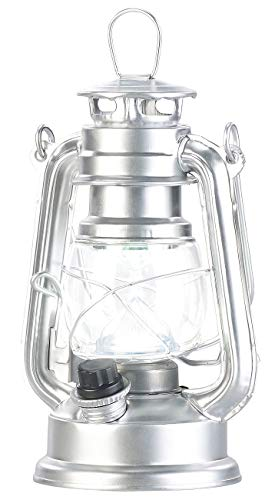 Lunartec LED Laterne: Ultra helle Mini-LED-Sturmlampe, Batterie, 200lm, 3W, 8000 K, silbern (Laternen Vintage)