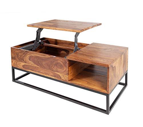 Invicta Interior Massiver Couchtisch MAKASSAR Function 110cm Sheesham höhenverstellbare Platte Wohnzimmertisch Tisch