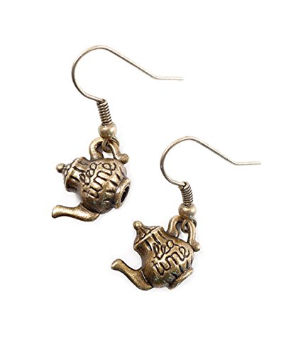Joyplancraft Mini Alice in Wonderland Teapot Charm Earrings Vintage British Teatime Dangle Earrings