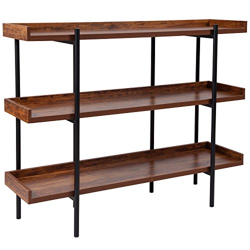 Flash Furniture Mayfair 3 Shelf 35H Storage Display Unit Bookcase with Black Metal Frame in Rustic Wood Grain Finish