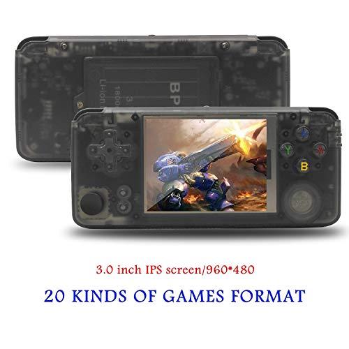 Anbernic Consolas de Juegos Portátil , Consola de Juegos Retro Game Console OpenDingux Tony System , Free with 32G TF Card Built-in 3007 Juegos, 3.0 Pulgadas Videojuegos Portátil - Transparent Black