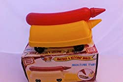 Image: Oscar Mayer Mustard and Ketchup Wienermobile | top container holds 4.5 oz of ketchup  | bottom container holds 11 oz of mustard