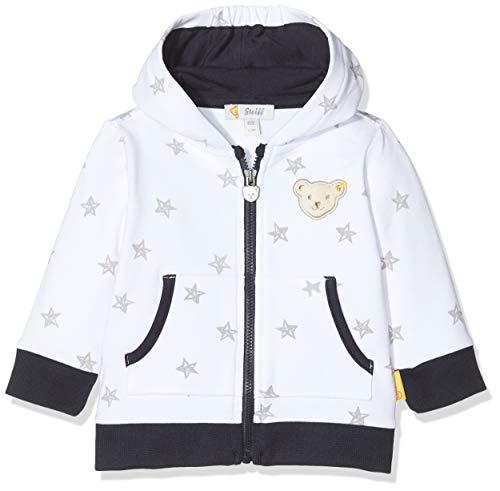 Steiff Baby-Jungen Sweatshirt Cardigan mit Sternen und Taschen, Weiß (Bright White 1000), 56