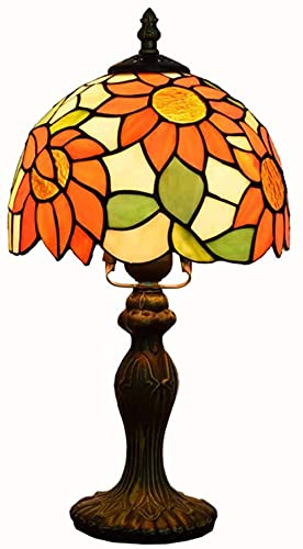 Lámpara de mesa de girasol estilo tiffany Retro a mano a mano lámpara de noche de cristal manchada para sala de estar dormitorio, 8 pulgadas