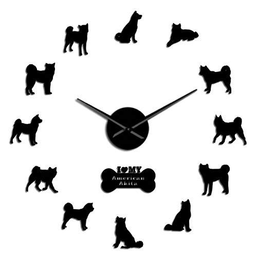 hufeng Reloj de Pared American Akita Dog Breed Autoadhesivo 3D DIY Reloj de Pared Akita Propietario Regalo Sala de Estar Diseño único Espejo Adhesivo Reloj de Pared