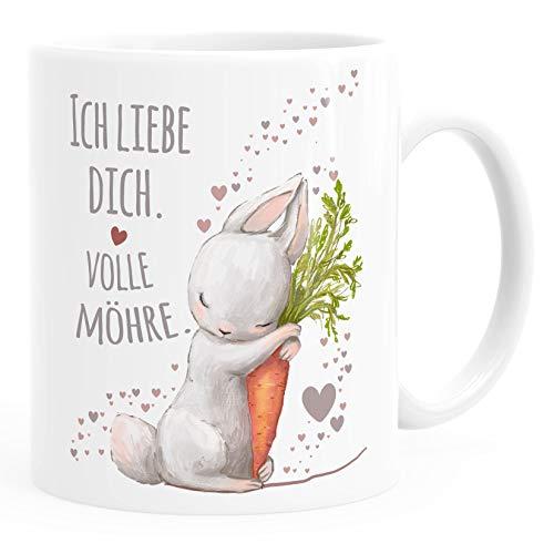 Moonworks® Kaffee-Tasse Liebesgeschenk Ich liebe dich volle Möhre Hase mit Karotte Liebesbotschaft Liebesbeweis uni - weiß Keramik-Tasse