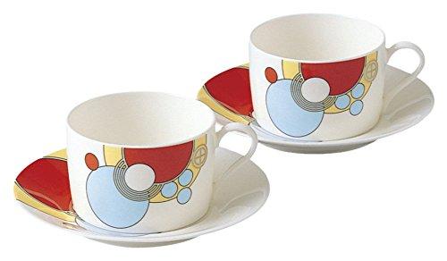 Noritake bone china Frank Lloyd Wright design tableware tea and coffee porcelain bowl plate pair set P97282/4614 (japan import)