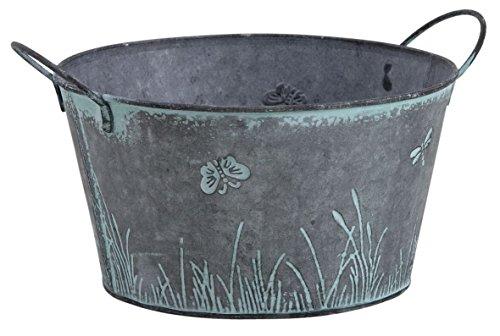 Round Métal Vintage Shabby Jardinière Pot Libellule Papillon design Herbes Ampoules