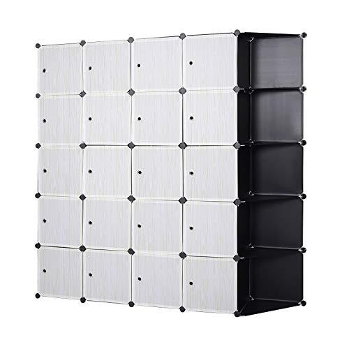 eSituro SGR0042 XXXL Kleiderschrank mit Kleiderstange mit Regal Garderobenschrank Steckregalsystem 185 x 35 x 185 cm schwarz