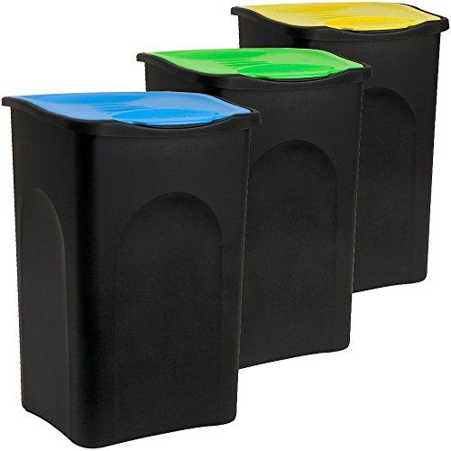 Deuba Stefanplast® 3X 50L Set Abfalleimer mit Klappdeckel 56 x 37 x 39cm - Mülleimer Papierkorb Abfallbehälter Restmüll Müllbehälter Abfallsammler Mülltrennsystem Abfalltrennsystem