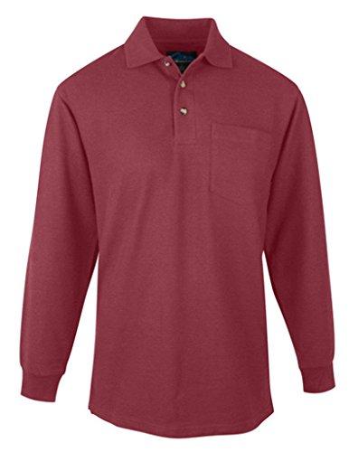 Spartan Long Sleeve Golf Shirt, Maroon, Large