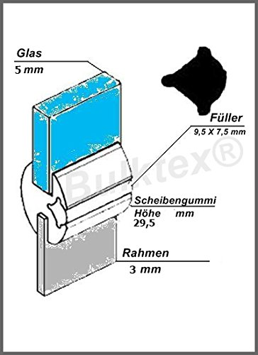 Original Bulktex® Profilgummi Fensterdichtung Vollgummi Scheibengummi 5 mm / 3 mm Höhe 29,5 mm Breite 19 mm für Oldtimer - Wohnanhänger - Camping - Wohnmobile – Traktoren – Landmaschinen - Boote – Sportboote – Yachten - Nutzfahrzeugbau – Baufahrzeuge - Auto – Kfz – Pferdeanhänger – LKW - Traktoren – Pferdeboxen – Fahrzeugbau - usw...