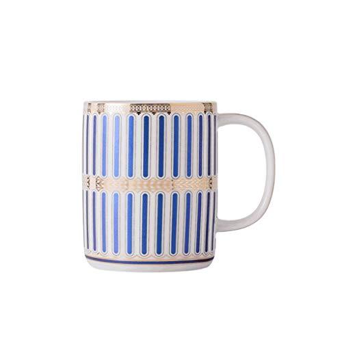 ZANZAN Taza de patrón Creativo con asa, Taza de café de cerámica de 350 ml, Vaso Multifuncional, Gran Regalo para Amigas de Familia Parejas-5Colors (Color : Blue B)