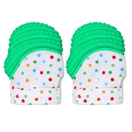 Paquete de de dentición para bebés, CestMall 2pcs manoplas de dentición de silicona de grado alimenticio para bebés sin BPA, guantes para prevenir rasguños para aliviar el del bebé, 3 a 12 meses