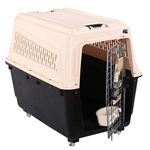 Jlxl Huisdier Transport Box Kat Carrier Hond Reizen Auto Luchtvaart Veiligheidsslot Afneembare Metalen Deur Ventilatie Draaggreep Rollers Huisdier Bowl