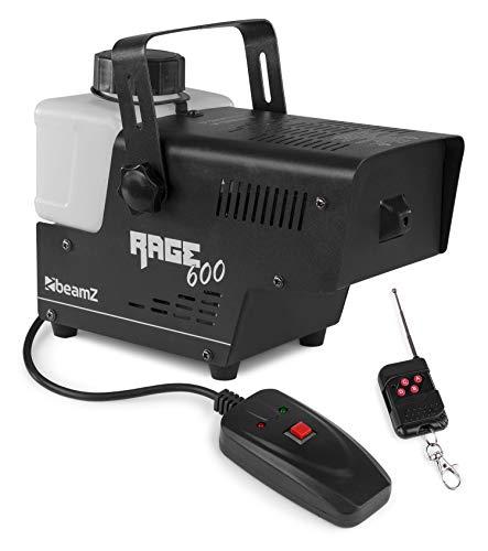 Beamz Rage 600 Nebelmaschine mit Fernbedienung - 600 Watt, Ausstoßvolumen: 65 m³ pro Minute, Tankvolumen: 0,5 L, Aufheizzeit: 3,5 Minuten, Nachheizzeit: 30 Sekunden, inklusive Funkfernbedienung