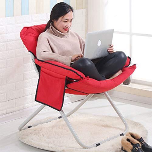 Nouvelle Peau Conviviale Velours Maison Loisirs Chaise Longue Paresseux Canapé Chaise Extérieure Portable En Aluminium Pliante Lune Chaise75 * 75 * 85CM (Color : Red, Size : M(Single chair))