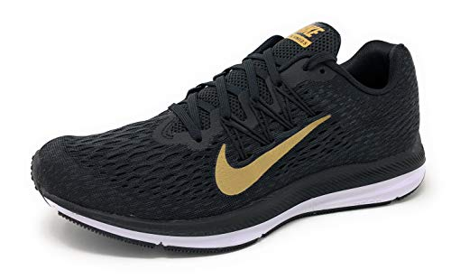 NIKE Womens Air Zoom Winflo 5 Running Shoe, Black/Metallic Gold-Anthracite, 6