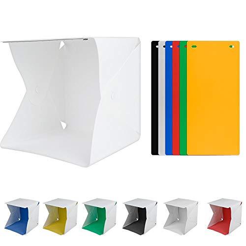 awstroe Carpa para Estudio Fotográfico, 23cm * 22cm * 24cm Kit de Carpa con Caja de Luz LED para Fotografía de Estudio Mini Plegable con 6 Fondos de Color