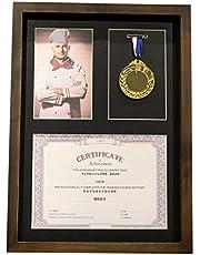 zzjj Eenvoudige en mooie medaille Display Box,Houten Oorlog Militaire en Sport Medailles Display Frame,Om medailles, Badges, foto of Certificaat, Zwart Eenvoudig te installeren