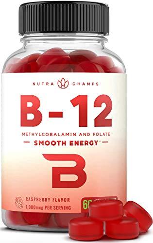 Vitamin B12 Gummies Enhanced with Folate (Plant-Based Vegan Gummy) Premium Methyl B-12 for Energy, Mood, Metabolism Support - 1000 mcg B 12 & 400 mcg B9 for Adults & Kids - Berry Flavor