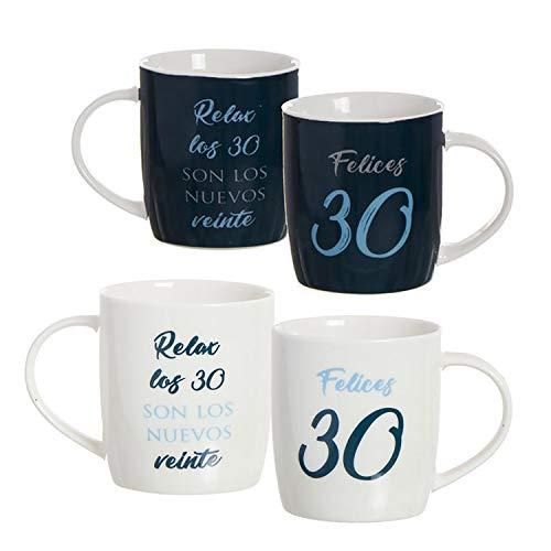 Hogar y Mas Taza de Porcelana de cumpleaños de 30 años con Frase, Color azúl y Blanca. Diseño Original y Moderno. Regalo Original 8.3 x 8.3 x 10cm 350ml. (Blanco)