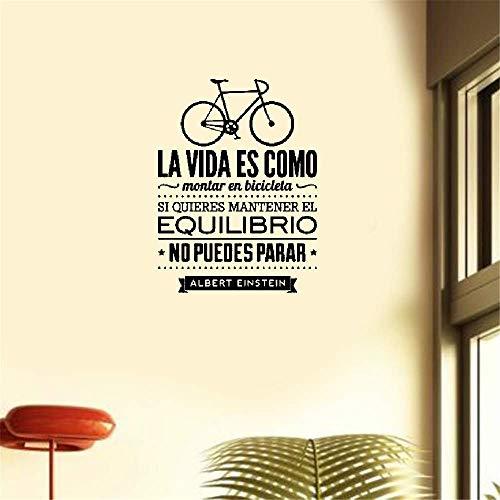 pegatina de pared 3d pegatina de pared frases Creativo en español La vida es como una bicicleta Vinilo Adhesivo De Pared Con Texto Albert Einstein