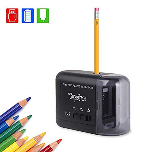 Tepoinn Electric Pencil Sharpeners with 2 Holes Design for Different Size Pencils Multiple Charging Method Automatic Pencil Sharpener Perfect for Home Office Schoo