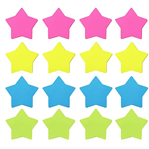 Self-Stick Removable Star Shaped Sticky Notes,Bright Colors,16 Pads 25 Sheets/Pad 3x3 Inches,Easy to Post for Office,Home,Notebook