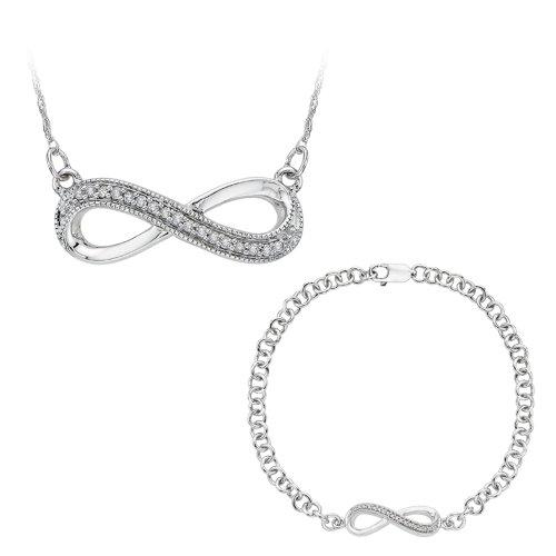 Infinito de diamante pulsera y colgante con caja de joyería de cadena en plata de ley (0,13quilates)