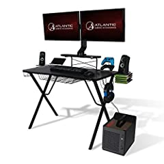 MADE FOR GAMERS – Atlantic's Gaming Desk Pro is specifically designed for all your gaming gear, so you can focus on that epic battle. Made with durable steel leg construction and sleek charcoal colored carbon fiber laminated top, the curved desk fron...