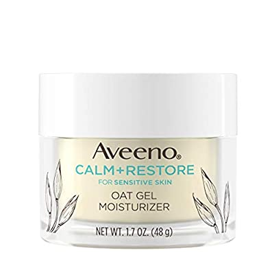 Aveeno Calm + Restore Oat Gel Facial Moisturizer for Sensitive Skin, Lightweight Gel Cream Face Moisturizer with Prebiotic Oat and Feverfew, Hypoallergenic, Fragrance- and Paraben-Free