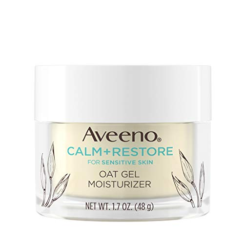 Aveeno Calm + Restore Oat Gel Facial Moisturizer for Sensitive Skin, Lightweight Gel Cream Face Moisturizer with Prebiotic Oat and Feverfew, Hypoallergenic, Fragrance- and Paraben-Free, 1.7 oz