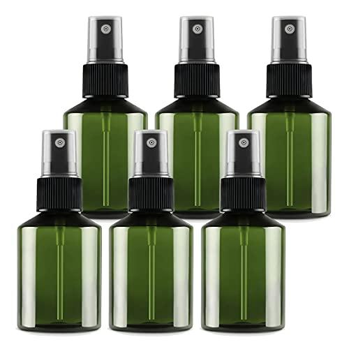 TIANZD 6 Piezas50 ml Botella de Spray Plástico Vacías Verdecon Bomba en Spray Negro de Niebla Fina Atomizador Pequeño para Perfume Viaje Artículos de Agua Cosmético Alcohol