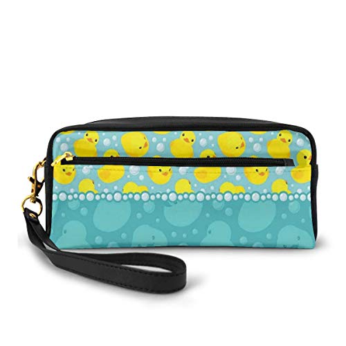 Pencil Case Pen Bag Pouch Stationary,Yellow Cartoon Duckies Swimming in Water Pattern with Fun Bubbles Aqua Colors,Small Makeup Bag Coin Purse