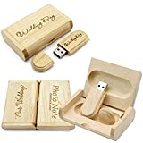 Customize Personalised Laser Engraved Solid Wooden USB Flash Drive USB Box Wedding Photo Memory Storage Disk,Wedding Ceremony,Company Customization,Personal Gift (32G, Maple)
