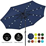 Best Choice Products 10ft Solar Powered Aluminum Polyester LED Lighted Patio Umbrella w/Tilt Adjustment and Fade-Resistant Fabric, Navy Blue