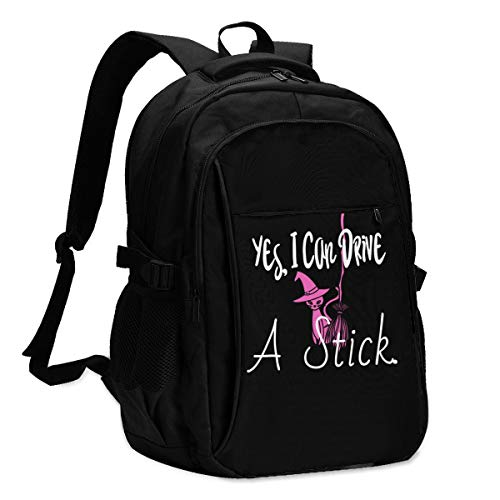 Yes I Can Halloween Graphic Backpack with USB Port College School Travel Bag for Kids Teens and Adult 15'' Laptop