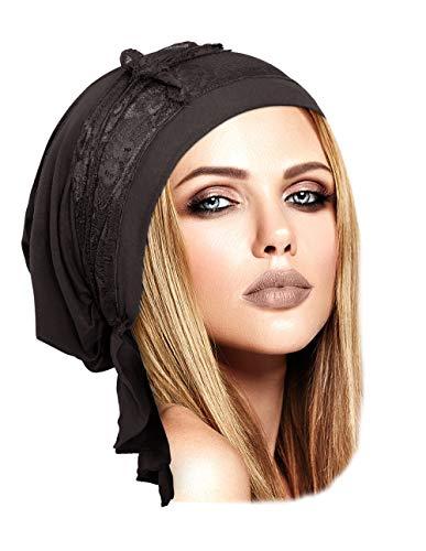 Kopftuch, vorgebunden, aus weicher Baumwolle, Tichel, Vintage, Grau, Blumenmuster, 077