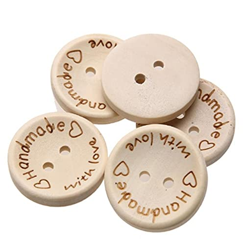 MAJFK 50 botones hechos a mano con forma redonda de amor, 2 agujeros, delicados botones de madera para costura, álbumes de recortes, manualidades, decoración de botones,