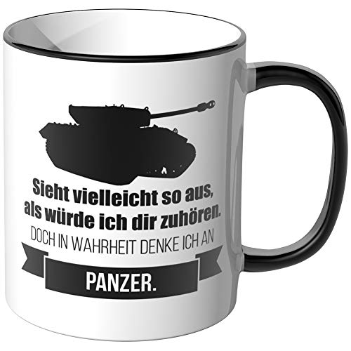 JUNIWORDS Tasse - Ich denke an Panzer - Wähle Motiv & Farbe - Schwarz