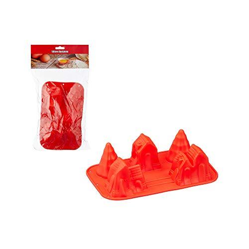 Cepewa Silikon Backform Dorf rot ca. B 25 cm mit 3 Häuser und 2 Bäume auf Karte spülmaschinengeeignet Kuchenform Brotbackform